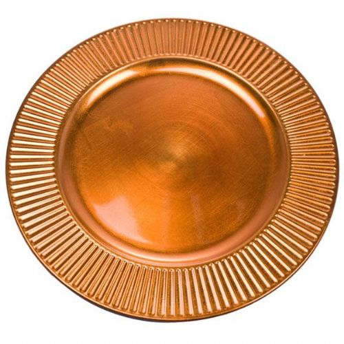 ORANGE Bevelled Rim Round Charger Plate - 33cm